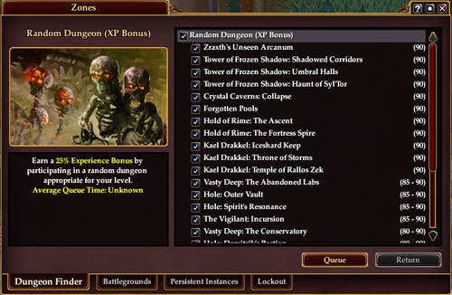 Dungeon Finder interface